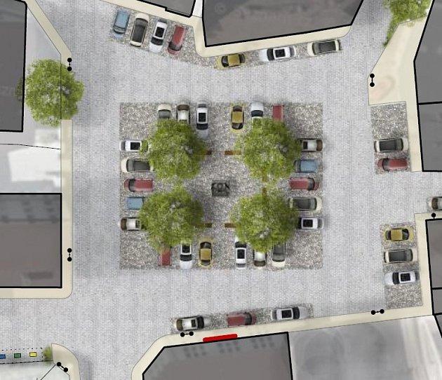 Takto by mohlo vypadat náměstí za pár let. Nová dlažba, stromy, parkovací místa a mobiliář.