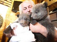Chovatel šelem Jaroslav Káňa z Veletic pečuje o dvě nové medvědí slečny. Archivní snímek