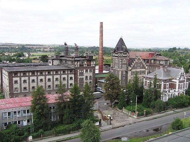 Ptačí pohled na původně Dreherův pivovar v Žatci, který byl později znám pod názvem Fruta.
