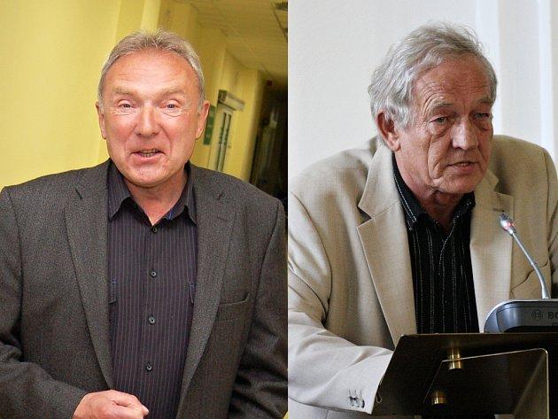 Čestmír Novák, ředitel žatecké nemocnice (vlevo), a Stanislav Rybák, náměstek hejtmana Ústeckého kraje. Oba muži při odlišných pohledech na problematiku lékařů a sanitek předkládají do polemiky také dost odlišná čísla.