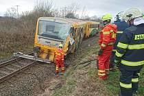 Dopravní nehoda na železničním přejezdu v Břvanech.