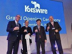 Slavnostní otevření nové továrny společnosti Kiswire v průmyslové zóně Triangle na Žatecku