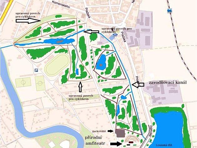 Mapka a nákres zvažované odpočinkové zóny v Lounech.