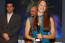 Lucie Svěcená, plavkyně ze Žatce, účastnice olympiády v Riu de Janeiru, krátce po převzetí ceny pro nejúspěšnější sportovkyni okresu Louny za rok 2016.