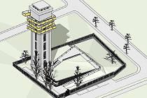 Studie z roku 2009, kterou si nechalo zpracovat město Louny. Ukazuje, jak by mohla vypadat na rozhlednu přebudovaná vodárenská věž na jižním okraji města.