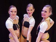 Zlaté trio z mistrovství Belgie Eliška Martinovská, Karolína Jánská, Adéla Citová.