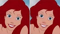 Ariel nebo-li malá mořská víla nalíčená a nenalíčená