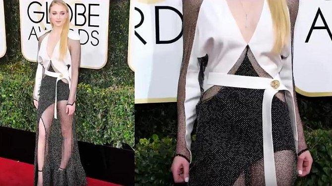 Sophie Turner, hvězda ságy Hry o trůny, si v roce 2017 oblékla model, který připomínal absolventské práce studentů středních uměleckých škol…