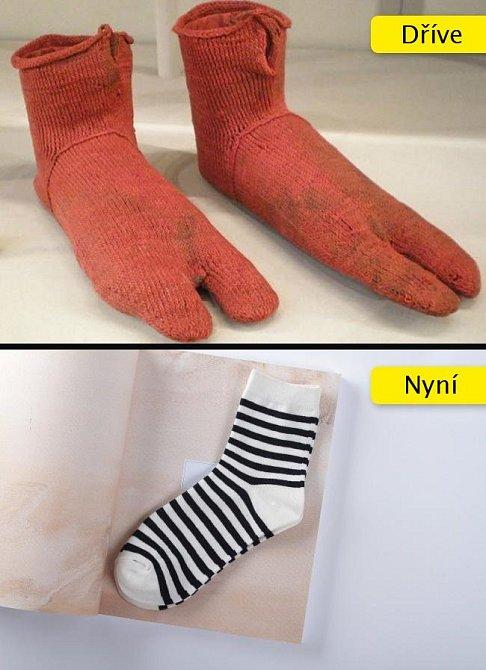 Ponožky se používaly do sandálů, a proto měly jednu prohlubeň mezi palcem a ostatními prsty