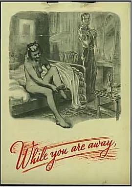 Takovými letáky zasypávali Němci britské linie. Na obrázku je znázorněná britská žena po sexu s americkým vojákem s textem: Zatím, co jsi pryč…