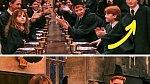 Harry Potter: Harry si v jednom záběru sedá na své místo u stolu, v dalším už sedí někde jinde.