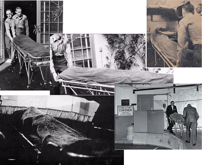 Z domu její tělo vyvezli dva zřízenci. Následně bylo převezeno do budovy okresního koronera v Los Angeles.