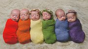 Fotografka vytvořila duhu z novorozených šesterčat: Příběh této velké rodiny vás dojme