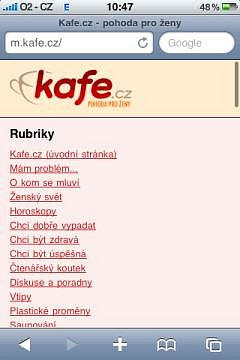 Mobilní verze m.kafe.cz - ukázka 2