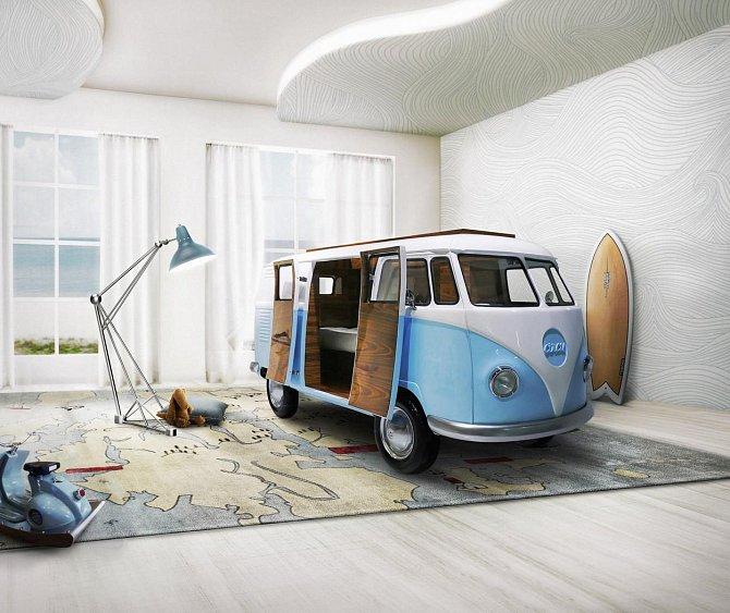 "Portugalská firma Circu vyrábí i postel ve stylu populárního ""hippie"" obytného vozu."