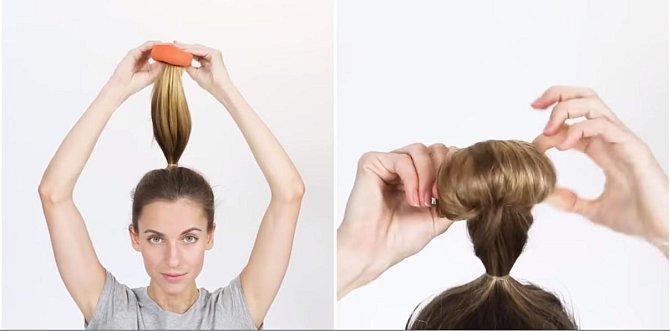 Kolečko z ponožky si navlékněte na vlasy a postupně rolujte ponožku i s vlasy tak, aby se na ně namotala.