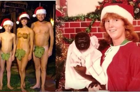 Nejtrapnější rodinné vánoční fotografie