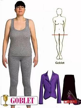 Široká ramena, velká prsa, žádný pas, úzké boky, dlouhé nohy a trochu větší bříško. Noste vypasovaná sáčka, široké sukně, podpatky.