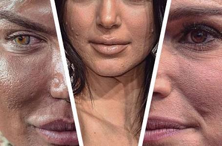 Celebrity zblízka: Vrásky, rozšířené póry, akné, knírky, nepovedený make-up