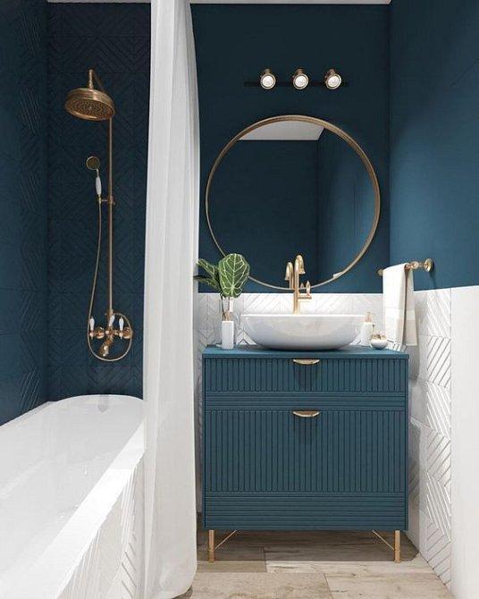 Koupelna v netradičních barvách je sama o sobě dost výrazná. Vybírejte tak, ať zrcadlo neruší.