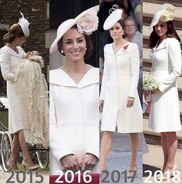 Kate Middleton model, který oblékla na svatbu Harryho a Meghan, měla na sobě už počtvrté.