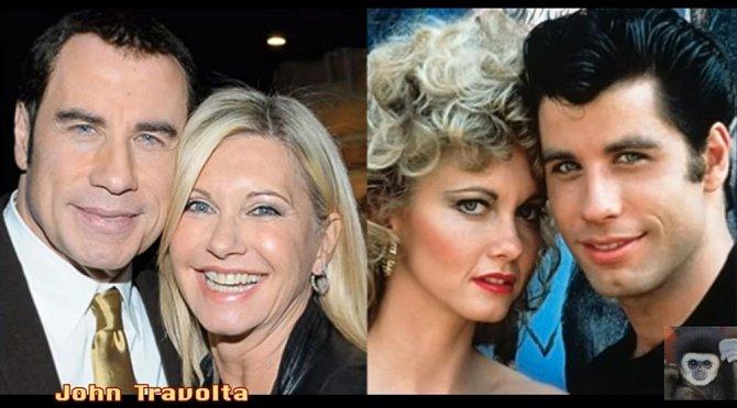 John Travolta coby Danny Zuko a Olivia Newton-John coby Sandy Olsson