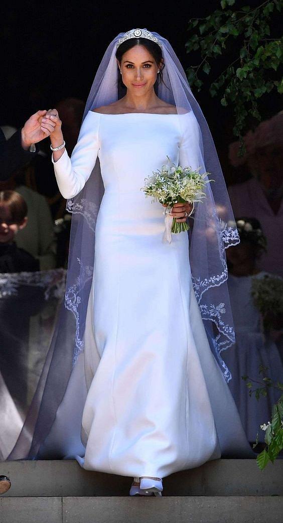 Meghan Markle při své svatbě v květnu 2018.