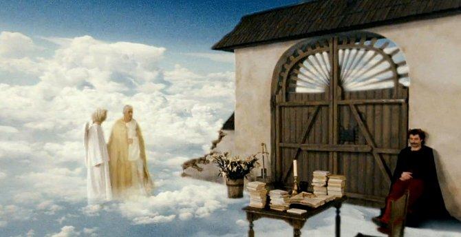 Petronel posílá abatyši Magdalenu do pekla, Uriáš jí bere květinu a jde směrem ke stolu. V dalším záběru ji však nemá a není ani nikde okolo.