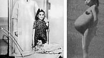 Lina Medina se svým synem a před porodem.