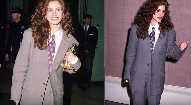 Julia Roberts v roce 1990 vyrazila pro cenu v pánském obleku, který jí byl navíc velký.