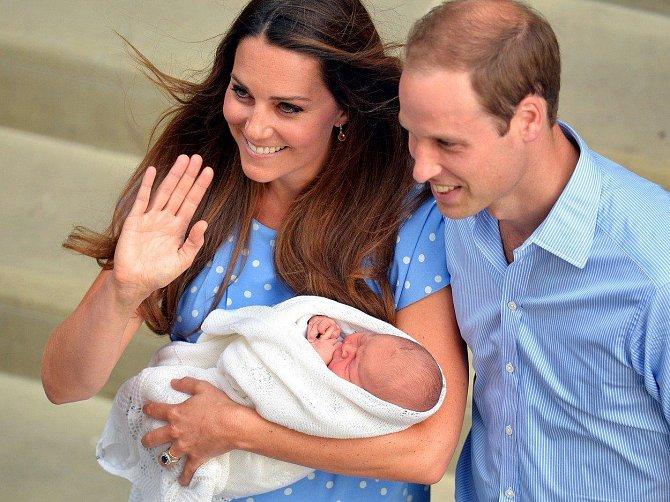 Kate, William a pár hodin starý Geroge.