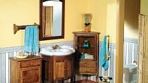 Koupelnový retro nábytek ála 30. léta můžete koupit v celé sestavě, anebo po jednotlivých dílech, a to buď ve světlém provedení ze smrku, anebo ve tmavém z bukového dřeva.