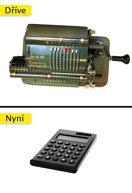 Kalkulačka - ta nejstarší dokázala, sčítat, odčítat, dělit a násobit.