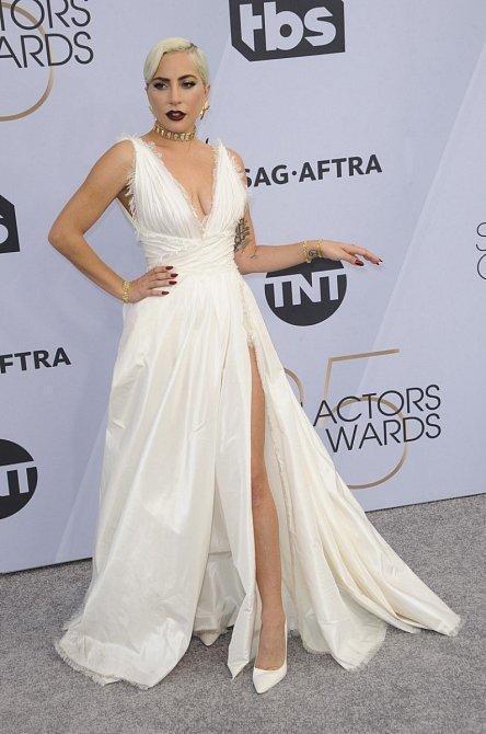 Lady Gaga zvolila úchvatné šaty, škoda, že opět v nestřežený okamžik ukázala kalhotky.