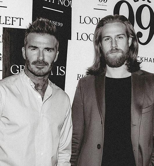 Gwilym Pugh s fotbalistou Davidem Beckhamem.