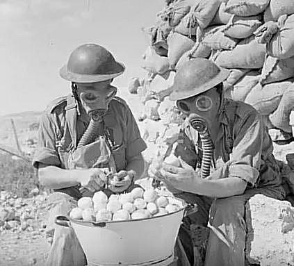 Vojáci využili plynové masky při loupání cibule.