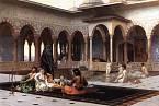 Život v harému - opět ukázka nádvoří s velkým bazénem. Všiměte si všudypřítomné stráže.