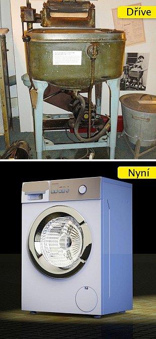 Pračka - od obřího monstra, kterým se muselo ručně točit, po stroj, který sám zváží prádlo a dle toho upraví čas praní a množství prášku