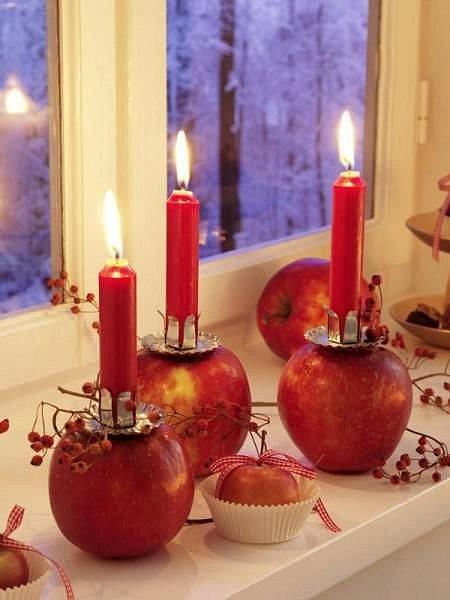 Elegantní a originální, vytvořte si svícen z jablek.