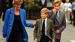 Princezna Diana se svými syny - Harrym a Williamem