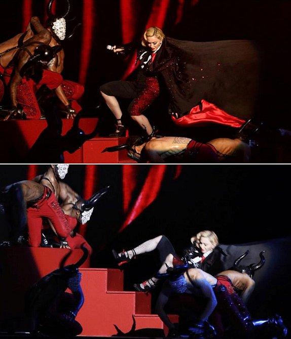 Madonna upadla ze schodů při BRIT AWARDS 2015