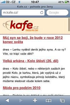 Mobilní verze m.kafe.cz - ukázka 1