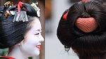 Rozdíl v drdolech. Vlevo drdol gejši shimada, vpravo momoware, drdol maiko.