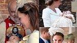 Kate na křtinách svých dětí: George, Charlotty a Louise.