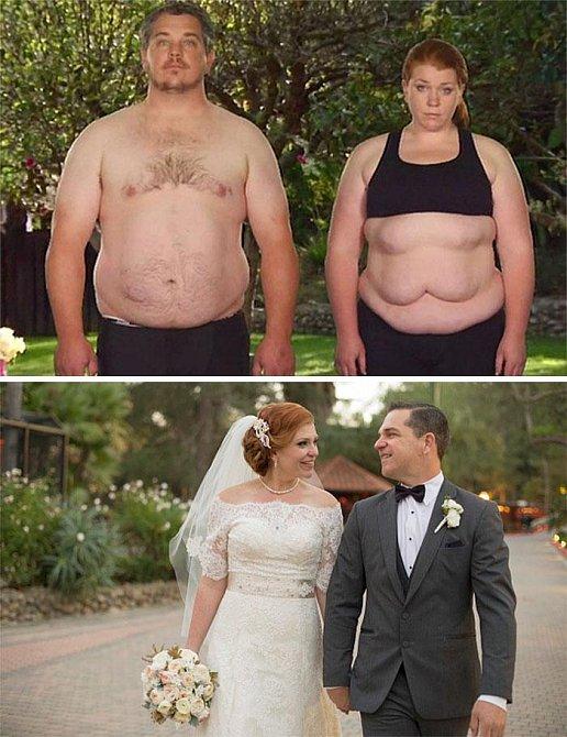 Tento pár také shazoval kila do své svatby. Podařilo se! A navíc si štíhlou linii oba stále udržují!