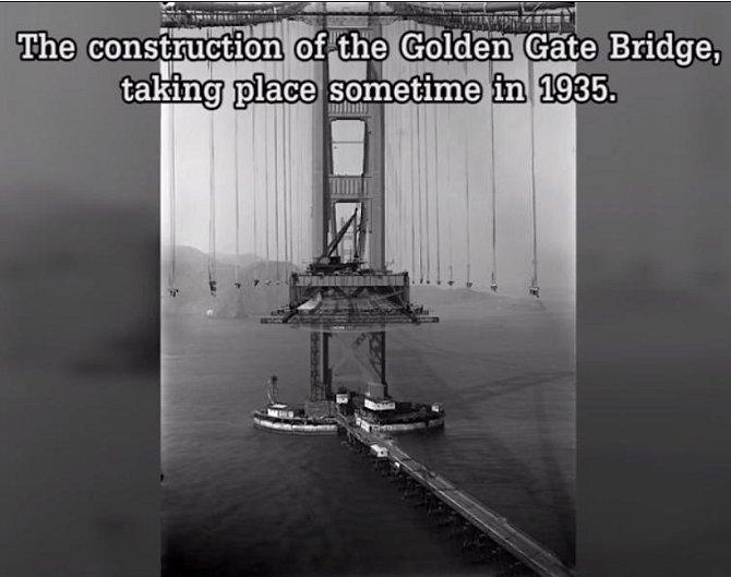 Fotografie z roku 1935 ukazuje, jak se stavěl slavný most Golden Gate.