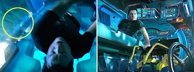 Avatar: Kolečkové křeslo v záběru ze shora není vidět, v jiném záběru je přímo u lůžka.