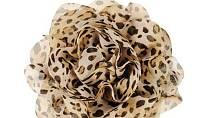 Květinovou broží s leopardím vzorem oživíte sako, kabát nebo šaty. (Next, 149 Kč)