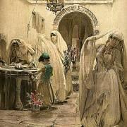 Život v harému - dobová kresba potvrzující různý věk i postavení.