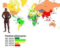 Mapa světa, která ukazuje, kde jsou muži obdařeni a kde si z nich příroda vystřelila